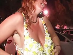Redhead mature, Redhead busty, Public show, Public mature, Party outdoors, Party outdoor