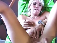 Mature blonde handjob, Mature blond handjob